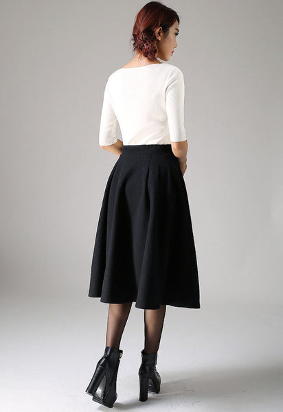 Classic Black Winter Skirt - Wool High Waist Office Work Skirt Mid-Calf Length (1087)