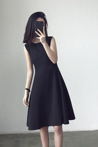 Black sleeveless, slim high-waist a-line dress 190209#