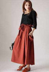 Rust red long swing skirt with elastic wasit and ruff detail 0848#