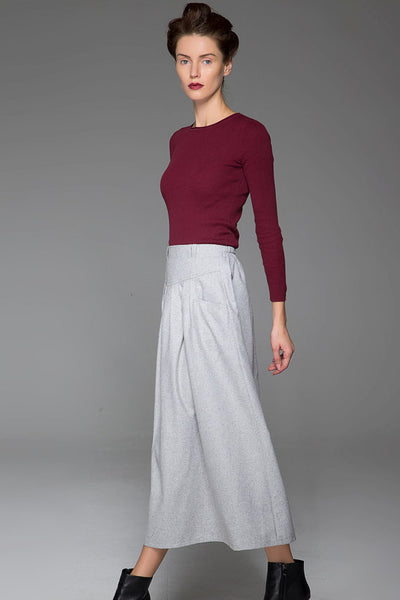 Gray Wool Skirt Winter Skirt Warm Skirt Autumn Skirt Plain Skirt (1441)