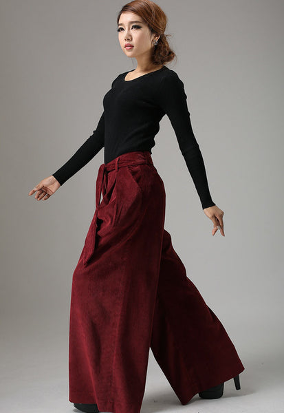 Wide Leg maxi Corduroy pants ethnic trousers (749)