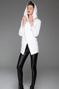 White Asymmetrical jacket coat for winter 1421#