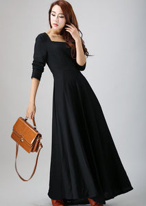 Maxi Black Linen Dress - LBD with Full Flared Skirt - Perfect Christmas Party Dress (793)