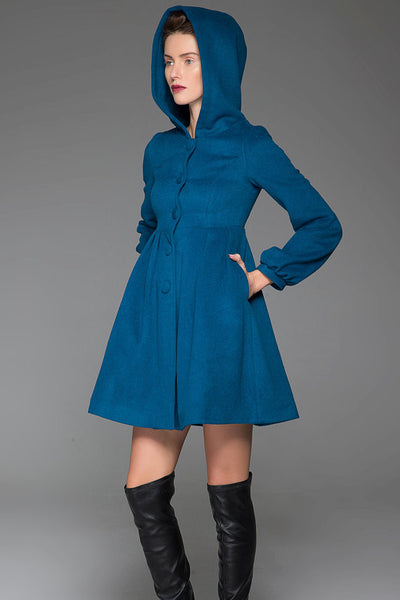 Blue Swing Coat - Hooded Fit & Flare Short Winter Jacket with Lantern Sleeves Women's Outerwear (1419)
