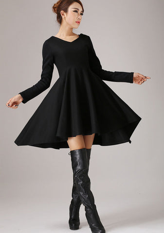 Little Black Dress-Cocktail Dress-Party Dress-Dresses-Womens Dresses-Dress-Black Cocktail Dress-Sexy Dress-Woman Dress-Wool Dress(767)