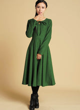 Load image into Gallery viewer, Green dress maxi wool dress with keyhole detail (374)