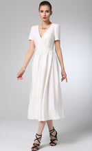 Load image into Gallery viewer, White linen dress prom dress maxi bridesmaid dress (1215)