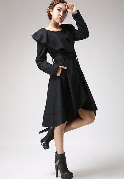 Black wool coat Ruffled Cape coat (699)