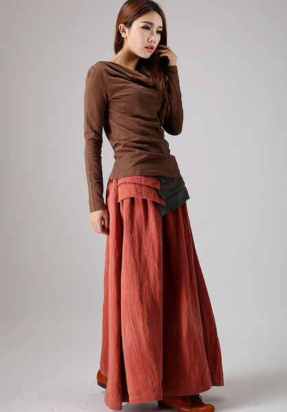 Maxi skirt Orange linen skirt women skirt (856)