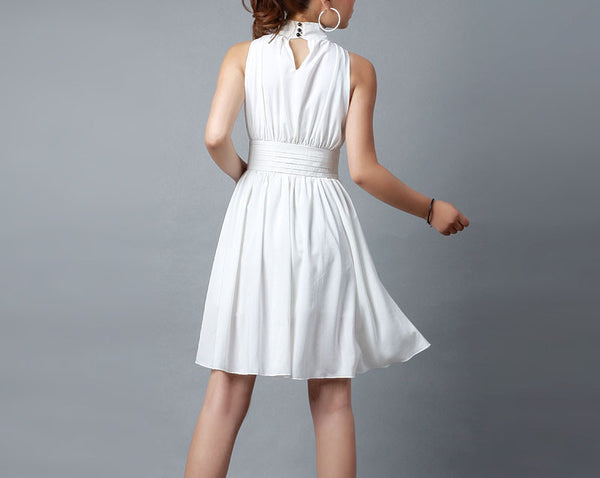 Mini dress women's white chiffon dress bridesmaid dress in summer (0193)