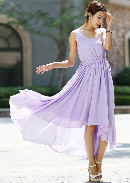 Maxi purple chiffon dress (992)