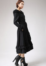 Load image into Gallery viewer, Black Ruffles Coat - Long Wool Maxi Hooded Coat with Circular Hemline - Made to Measure 0713#