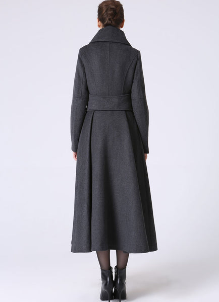 Long Wool Winter Coat - Dark Gray Military Style Tailored Coat (1063)