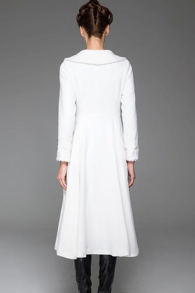 White Wool Coat - Vintage Style Warm Long Single-Breasted Woman's Coat with Large Collar and Feminine Picot Edging (1418)