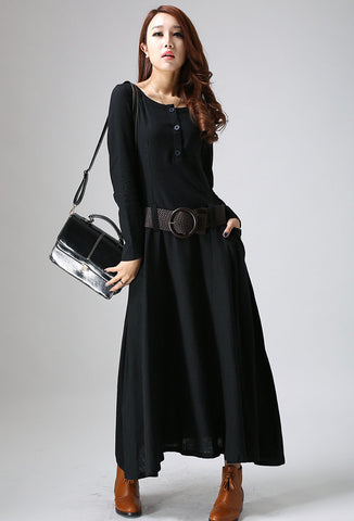 Black dress maxi linen dress woman's long sleeve dress casual dress custom made 784 805#