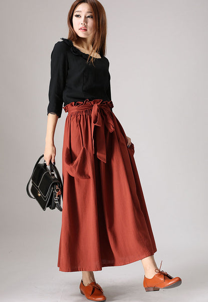 ethinc linen skirt woman casual maxi skirt elastic ruffle waist skirt in wine red (848)