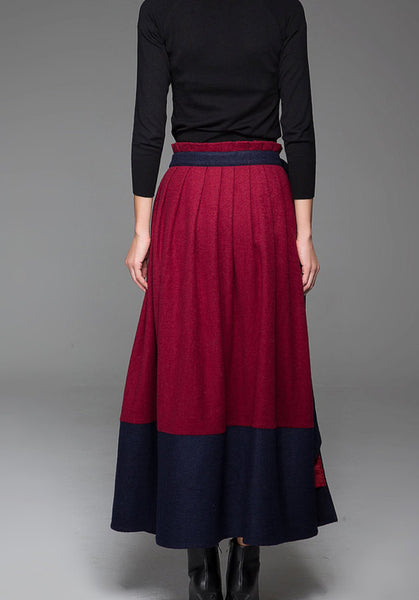 Wine Red Wool Skirt With Blue Stitching Hem and Long Unique Belt Maxi Skirt Winter Skirt 1429