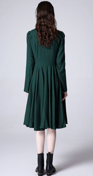 Green linen dress women midi cute dress (1176)