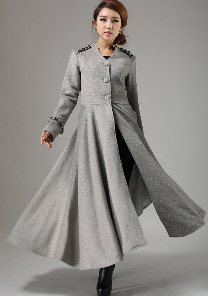 long grey swing coat with ruffle details ankle length coat dress