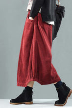 Load image into Gallery viewer, Elastic Waist Corduroy maxi Skirt for winter A010