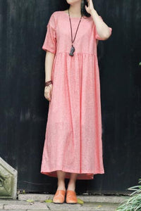 crew set head vintage linen long dress with loose waist CYM351
