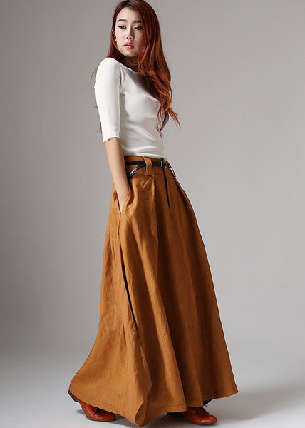 Maxi Skirts-Maxi Skirt with Pockets-Bohemian Skirt-Long Skirt-Boho Ski u2013 xiaolizi