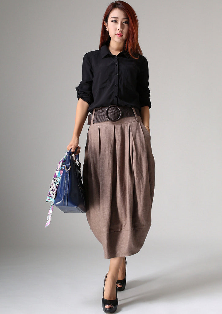 Linen skirt maxi skirt women long skirt (1032)