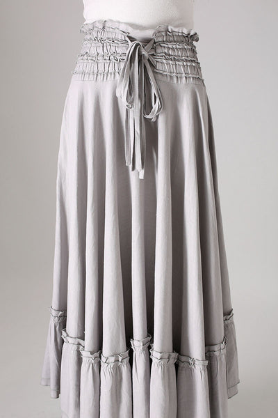 gray skirt ruffle detail Maxi skirt woman linenskirt (849)