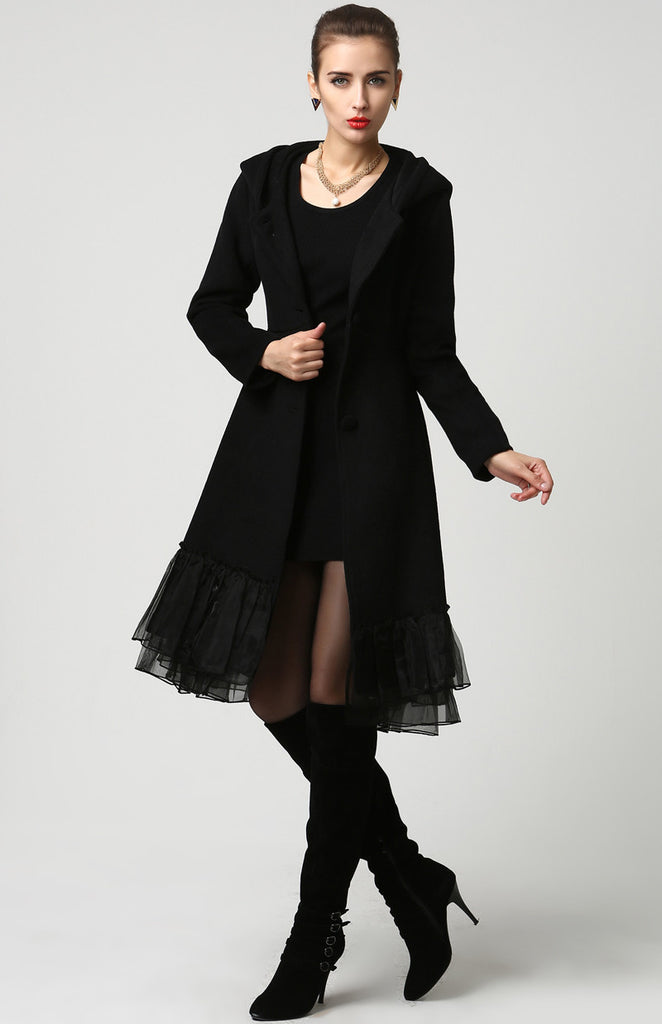 Womens Black Wool Midi Coat with Hood and Tulle Hem (1115)