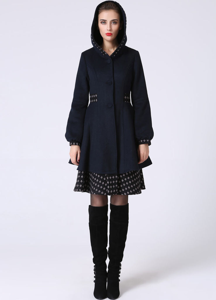 select for newest amazing selection catch Womens Mid-Length Winter Jacket - Navy Blue Midi Swing & Layered Wool Coat  with Contrasting Hemline Detail (1059)