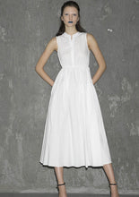 Load image into Gallery viewer, white cotton sleeveless long womens dress with summer 1302
