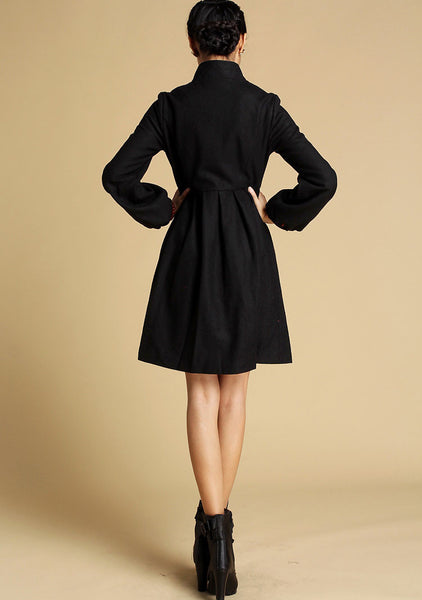 Black cashmere coat winter jacket wool coat (354)