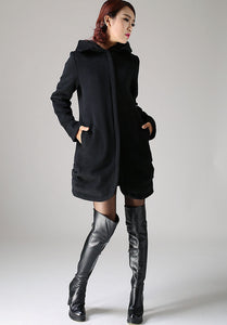 Casual Winter Coat black Wool Jacket(1076)