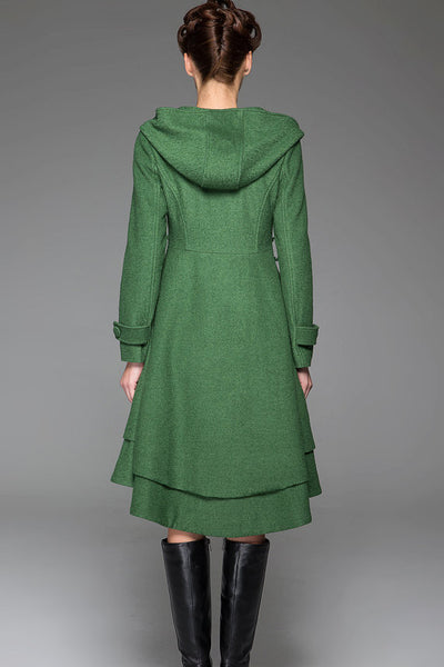 Green wool jacket women winter coat 1411