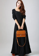Load image into Gallery viewer, long sleeve Maxi Black Linen Dress -LBD 793#