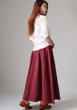 Load image into Gallery viewer, Elegant pleated maxi A line skirt 1048#