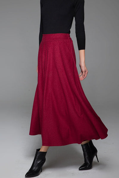 Red Wine Wool Skirt Winter Maxi Skirt Warm Skirt 1435