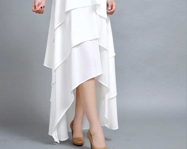 White dress maxi chiffon dress prom dress (261)