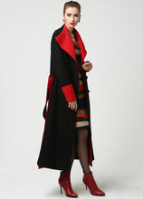 Load image into Gallery viewer, Womens Long Black Wool Coat with Red Detailing and Shawl Collar 1106#