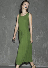 Load image into Gallery viewer, green sleeveless midi linen dress 1317