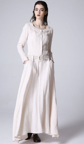 Maxi linen dress women dress spring long dress (1179)