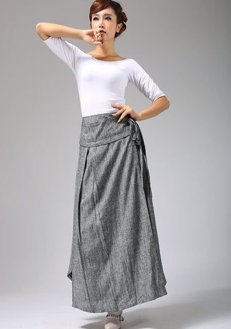 Long Wrap Maxi Skirt - Women Linen skirt in Gray Made to Measure with Asymmetrical Hem (689)