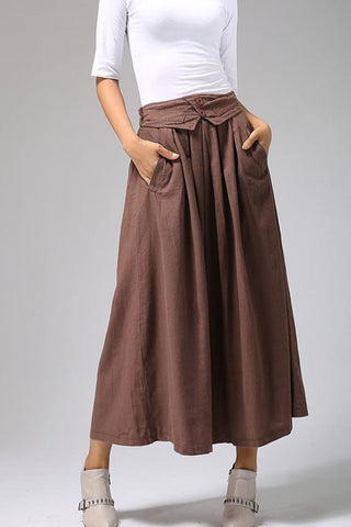 Linen skirt women's maxi skirt Pleated skirt 0690#