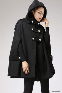 womens's hooded cape coat 1130#