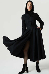 winter maxi hooded black wool coat 1958#