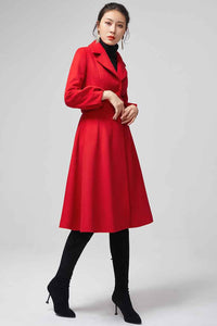 Red wool coat With Lapel Collar 2200#