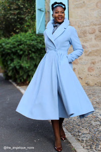 Wool Princess maxi coat in Baby blue 2407#