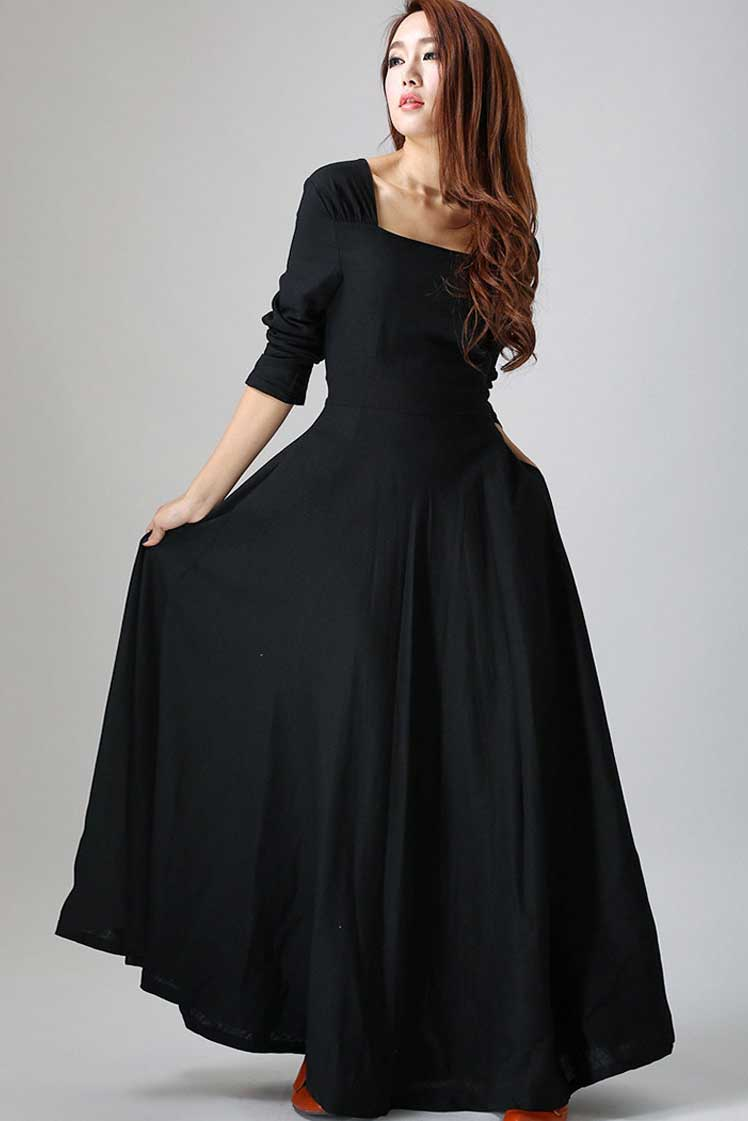 long sleeve Maxi Black Linen Dress -LBD 793#