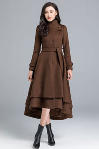 Vintage inspired long Wool Coat 1112#