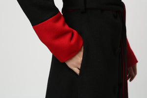 Womens Long Black Wool Coat with Red Detailing and Shawl Collar 1106#